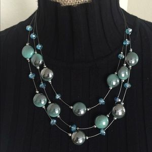 mint green bead necklace